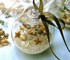 """Beach Christmas Ornament """"Memories of the Beach"""" Kit includes everything imaginable for your own beach ornament or as a very special gift."""