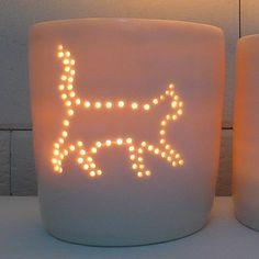 Cat Porcelain Luna Mini Tealight Holder by LunaLighting on Etsy, $19.95