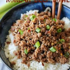 Korean Beef Bowl Recipe Ingredients: brown sugar, soy sauce, sesame oil, crushed red-pepper flakes, ground ginger, vegetable oil,  garlic, ground beef, green onions, Cooked rice