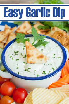 Garlic lovers, this garlic dip is for you! A 5 minute dip recipe that is easy and full of fresh garlic. Delicious appetizer with veggies, chips or crackers. Great for a summer BBQ, potluck, holiday or game day. #dips #appetizers #garlic #snacks #potluck Potluck Finger Foods, Finger Food Appetizers, Holiday Appetizers, Appetizer Dips, Yummy Appetizers, Appetizer Recipes, Garlic Dip, Fresh Garlic, Dip Recipes