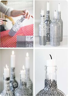 Upcycle glass bottles with decoupage paper // by Craft & Creativity Glass Bottle Crafts, Wine Bottle Art, Diy Bottle, Bottles And Jars, Glass Bottles, Empty Wine Bottles, Painted Bottles, Bottle Candles, Recycled Bottles