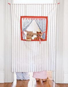 How to make a doorway puppet theater out of an old curtain.    #crafts #kids