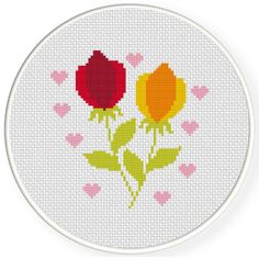 Charts Club Members Only: Flowers And Hearts Cross Stitch Pattern