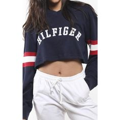 Vintage Tommy Hilfiger Crop Sweatshirt ($50) ❤ liked on Polyvore featuring tops, hoodies, sweatshirts, cropped sweatshirt, vintage sweatshirts, vintage crop top, vintage tops and cropped tops