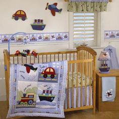 Transportation blue and red baby crib bedding. Cars, boats, planes, and trains crib bedding. Travel Time baby crib bedding by Bedtime Originals.
