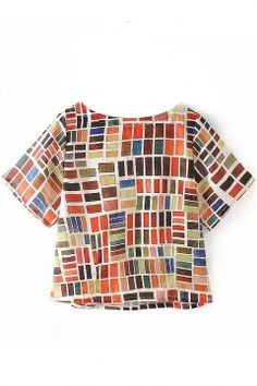 Colorful Plaid Print Boat Neck Short Sleeve T-Shirt