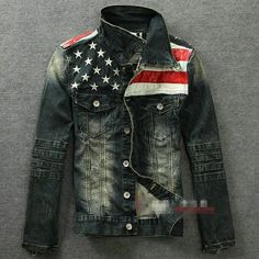 New American flag jeans jacket for men Fashion motorcycle jeans short jacket do old jeans denim coat-in Jackets from Apparel Accessories on Aliexpress.com