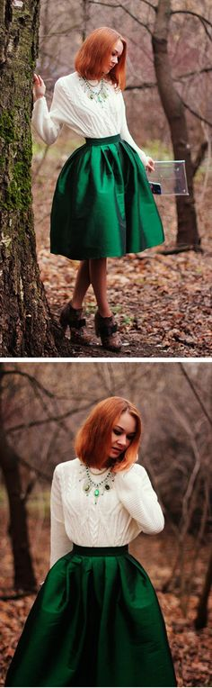 Discover more HOLIDAY outfits at Chicwish.com Green A-line Midi Skirt featured by gvozdishe Blog