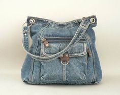 Vintage Large Denim Shoulder Bag Blue Jean Purse
