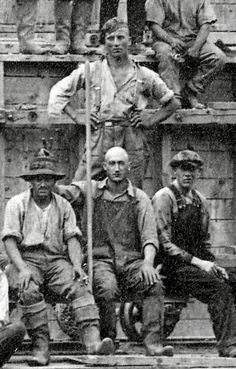 Close up of some Ayers Island Dam workers, ~1922 by Bob Gundersen, via Flickr