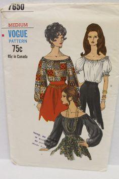 Vogue Sewing Pattern Peasant Blouse Raglan by SissysPatterns, $12.00