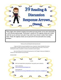 These Hawkeye Super Hero themed reading & discussion (arrows) stems can be used individually or with flexible small groups. This product consists of 39 response stems and 3 blank cards for you to add your own, plus 3 top cards if you choose to make them double-sided.