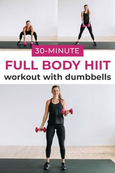 If you like variety, this is the workout for you! This NO REPEATS, full body HIIT workout for women is a fast-paced, challenging full body workout that keeps your mind and your body busy for the entire 30 minutes! #30minutehiit #fullbodyhiit #hiitwithdumbbells #hiitwithweights Hiit Workouts With Weights, Hiit Workout Videos, Gym Workout Chart, Full Body Hiit Workout, Hiit Workout At Home, Belly Fat Workout, Dumbbell Workout, Cardio Workouts, Workout Routines