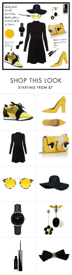 """""""Spring for black. Yellow for the sun."""" by bybelkina ❤ liked on Polyvore featuring Balenciaga, Broccoli, Paule Ka, Fendi, Krewe, ROSEFIELD, Givenchy, Post-It, Chanel and Illamasqua"""