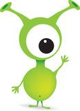 Cute cartoon green alien monster Stock Photos