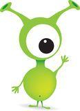 Cute cartoon green alien monster Stock Photos