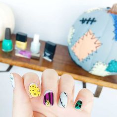 Get into the Halloween spirit with quick and colorful Nightmare Before Christmas Sally nail art that's simply meant to be. Holiday Nail Designs, Winter Nail Designs, Simple Nail Designs, Holiday Nails, Christmas Nails, Nail Art Designs, Gorgeous Nails, Love Nails, Pretty Nails