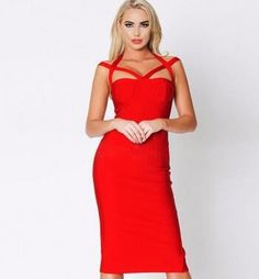 Suspend Straps Red Bandage Dress