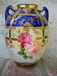 Nippon Vase with gold beading