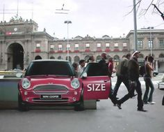 Creative and Clever Uses of Sticker in Advertisements - Part 2 This is a creative ad by Mini Cooper placed at the Zurich, Switzerland train station. It gives the perception that the Mini Cooper has a large space. Guerilla Marketing, Street Marketing, Email Marketing Strategy, Marketing Ideas, Marketing Tools, Creative Advertising, Guerrilla Advertising, Advertising Campaign, Advertising Design