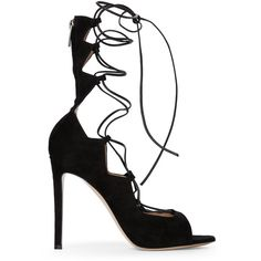 Gianvito Rossi Black Lace-Up Sandals ($550) ❤ liked on Polyvore featuring shoes, sandals and blacks