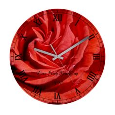 Heart Of A Red Rose  Wall Clock with customisable text