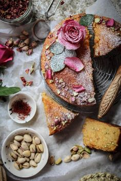 Beautiful, rustic Persian love cake. Perfect for an anniversary, Valentine's Day or perhaps in tiers as a rustic wedding cake. I love the bare cake look prettied up with a sprinkling of powdered sugar and roses.