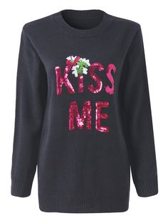 Sale 18% (37.79$) - Christmas Letters KISS ME Sequined Long Sleeve Knitted Pullover Sweater For Female