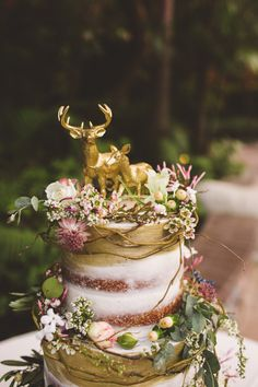 11 Awesome Cake Toppers from Etsy   Wedding  3   Pinterest   Deer     Metallic Gold Deer Cake Topper   Buck and Doe Pair