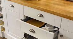 cabinet doors complete with handles - Google Search - love these pewter cup pulls and matching knobs against the white panels and oak effect worktop, find similar here - http://www.handles4u.co.uk/products/Cabinet+Door+Handles+and+Knobs