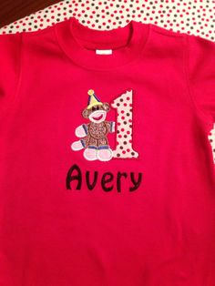 Sock Monkey Birthday Shirt Applique Personalized on Etsy, $25.00