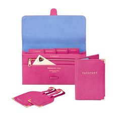 Classic Travel Collection in Raspberry Lizard & Pale Blue Suede from Aspinal of London