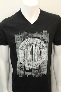 DKNY Jeans T-Shirt  S-Sleeve Color Black Sz XLarge New York NWOT V-Neck New