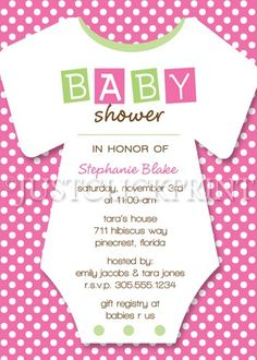 Boy Girl Baby Shower Onesie Invitation Pink Green Blue Purple | DigitalDelight - Digital Art on ArtFire