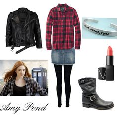 Amy Pond by bsunshinegirl on Polyvore  I love pretty much all of this. I decided recently that my denim skirts add too much bulk to my waist (zipper & button bunch up), but I <3 all of this.