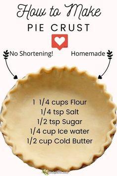 All Butter Pie Crust, Easy Pie Crust, Homemade Pie Crusts, Pie Crust Recipes, Homemade Pies, Recipe For Pie Dough, Single Pie Crust Recipe With Butter, Buttery Pie Crust Recipe, Pastry Crust Recipe