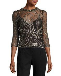 TDE1C Jenny Packham Glitter Tulle 3/4-Sleeve Top, Black