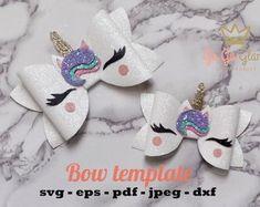 Unicorn bow template / svg unicorn hairbow / DIY faux leather bow / bows for cricut Diy Bow, Diy Hair Bows, Bow Hair Clips, Ribbon Hair, Diy Headband, Baby Headbands, Flower Headbands, Baby Bows, Animal Bows