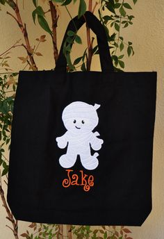 Trick or Treat Bag Canvas Bag Personalized Halloween tote Mummy or Ghost Girl orGhost  Boy Monogrammed Name