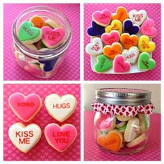 Valentine Candy Heart decorated cookies in a mason jar