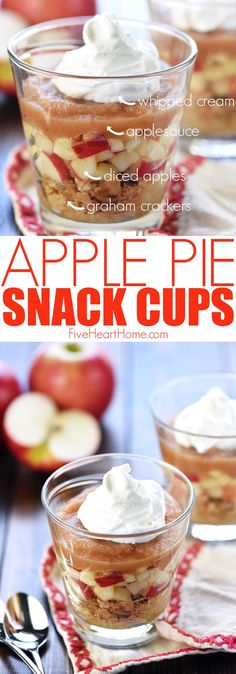 Healthy Apple Pie Snack Cups - Healthy Apple Pie Snack Cups ~ layers of graham cracker crumbs, diced apples, cinnamon applesauce, and whipped cream make a wholesome after-school snack or dessert that tastes just like apple pie! Healthy School Snacks, Healthy Afternoon Snacks, After School Snacks, Healthy Apple Snacks, School Snacks For Kindergarten, Healthy Snack For Work, Healthy Classroom Snacks, Healthy Camping Snacks, Healthy Snack Options