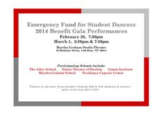 """Come and see our students performing excerpts of """"Psalm"""" for the Emergency Fund for Student Dancers (EFSD) this Friday and Saturday at Martha Graham Studio Theater."""
