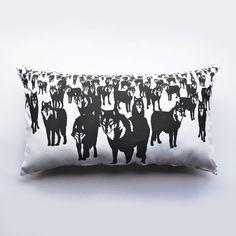 Needed - Wolf Cushion Black/ White (via A SKYLK OF FOXES)
