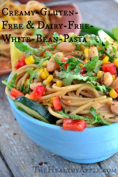 'Creamy' Gluten-Free & Dairy-Free White Bean Pasta   TheHealthyApple.com #glutenfree #dairyfree #vegan #healthy #summer #pasta