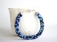 Beaded bracelet in shades of blue by BibaStore on Etsy Handmade Items, Handmade Gifts, Shades Of Blue, My Etsy Shop, Beaded Bracelets, Trending Outfits, Unique Jewelry, Store, Vintage