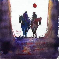 "WATERCOLOR...20 x 20 cm. Saatchi Art Artist OSCAR ALVAREZ; Painting, ""VAQUEROS 3"" #art**"