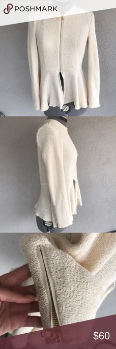 baf07c62a8 Zara woman cream gold peplum sweater jacket XS