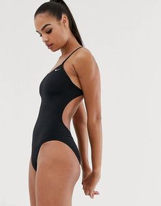 Buy Nike cut-out swimsuit in black at ASOS. With free delivery and return options (Ts&Cs apply), online shopping has never been so easy. Get the latest trends with ASOS now. Nike One Piece Swimsuit, Black Swimsuit, One Piece Swimwear, Nike Swimwear, Sporty Swimwear, Cut Out Swimsuits, Cute Swimsuits, Women Swimsuits, Asos