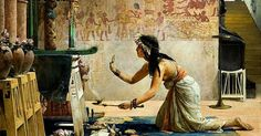 Egypt , Old Cairo Paintings: John Reinhard Weguelin (British 1849-1927) - The obsequies of an Egyptian cat 1886
