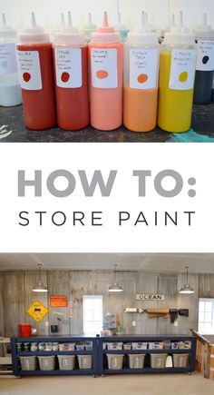 This fall, get your garage or craft room organized by properly storing your paint so it can be easily accessed when you need it for a new project. Kim of @newlywoodwards suggests labeling each bottle with a thumbprint sample so you always know which colors you've got on hand.